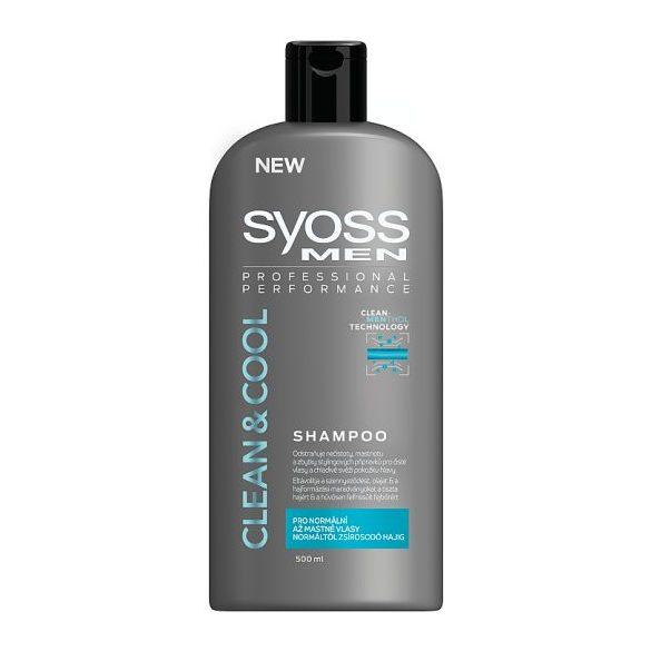 Syoss Men Clean & Cool sampon normáltól zsírosodó hajig 500 ml