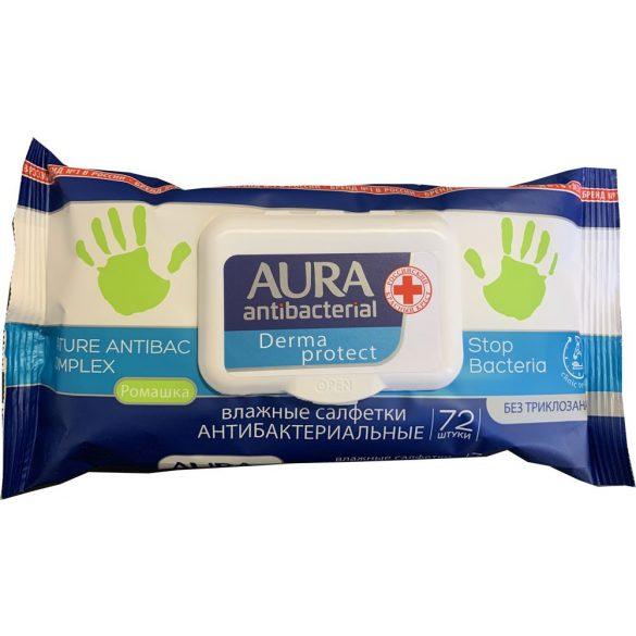 AURA Derma protect antibakteriális törlőkendő 72db-os
