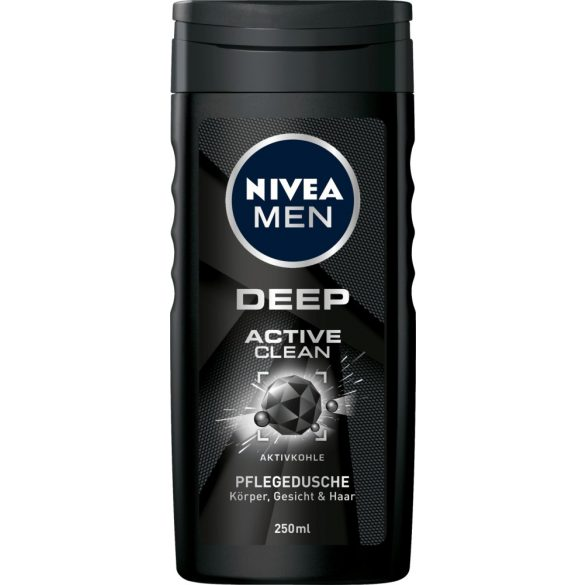 NIVEA MEN DEEP Active Clean tusfürdő tusoláshoz, arc- és hajmosáshoz 250 ml